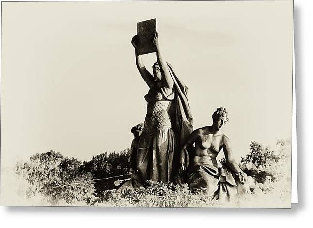 Philadelphia Digital Greeting Cards - Law Prosperity and Power in Black and White Greeting Card by Bill Cannon