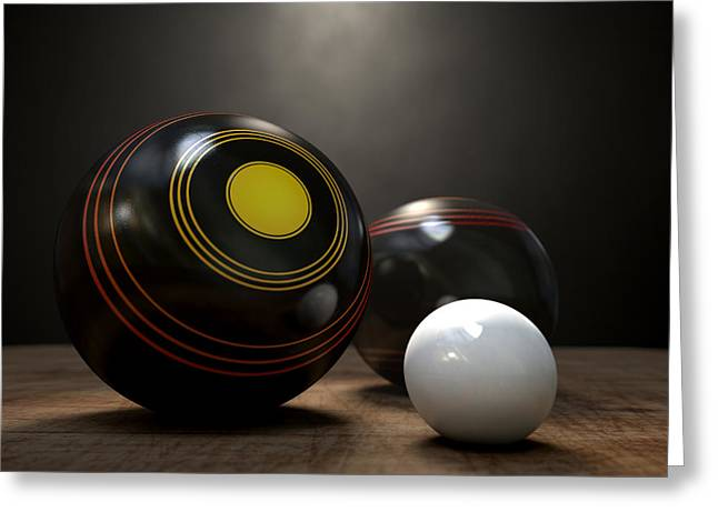 White Bowl Greeting Cards - Lawn Bowls And Jack Greeting Card by Allan Swart