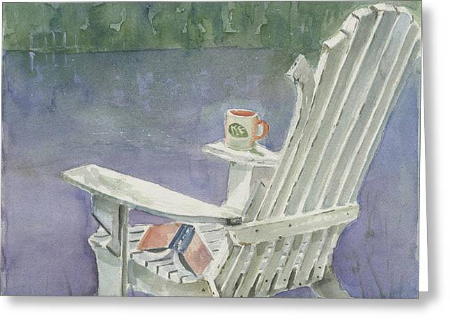Lawn Chair By The Lake Greeting Card by Arline Wagner