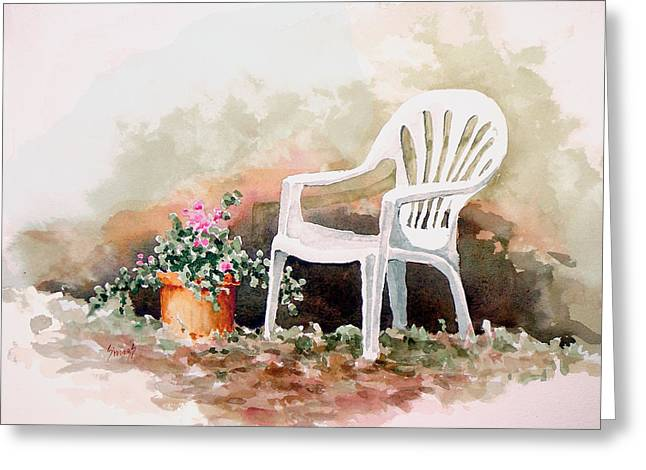 Chairs Greeting Cards - Lawn Chair with Flowers Greeting Card by Sam Sidders