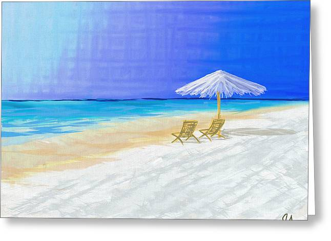 Lawn Chairs In Paradise Greeting Card by Jeremy Aiyadurai