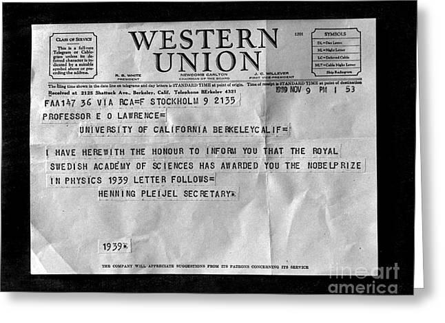 Nobel Prize Recipient Greeting Cards - Lawrences Nobel Prize Telegram, 1939 Greeting Card by Science Source