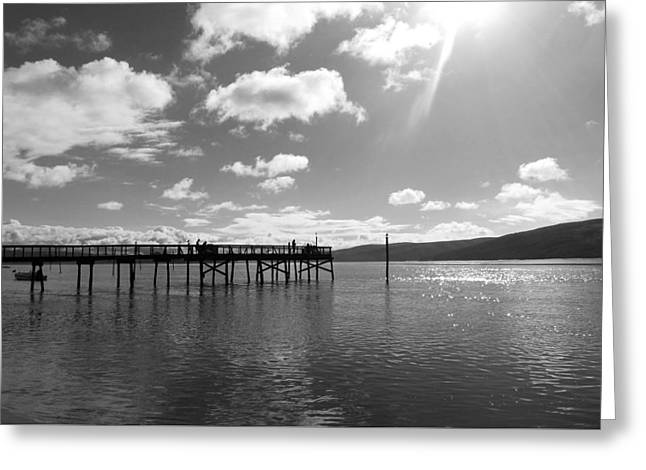 Lawson's Landing Black And White Greeting Card by Sierra Vance