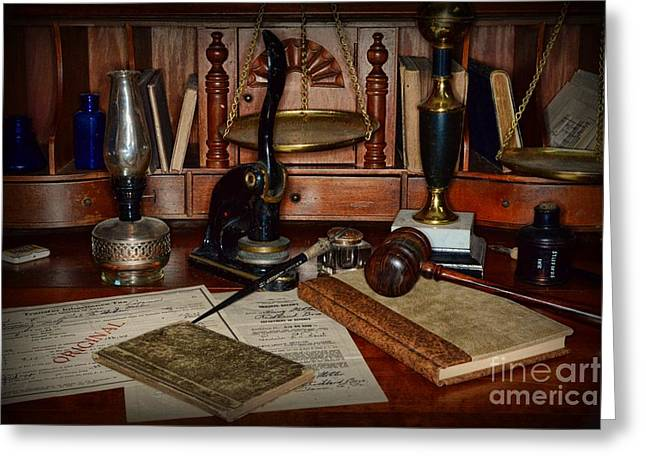 Solicitor Greeting Cards - Lawyer - A Lawyers Desk Greeting Card by Paul Ward