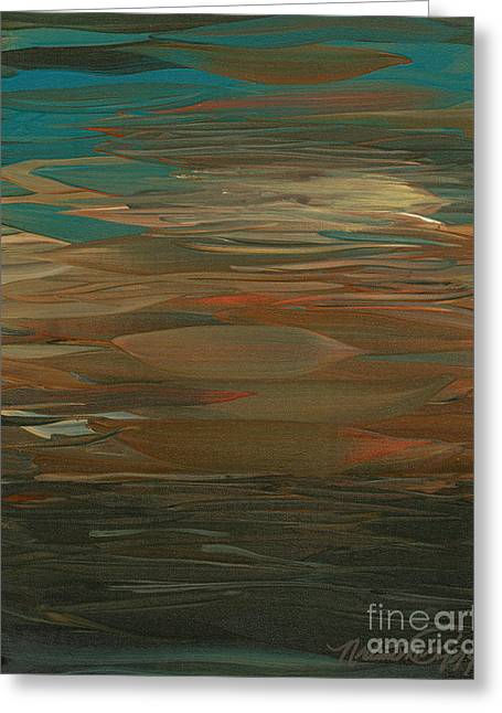 Layers Greeting Cards - Layered Teal Sunset Greeting Card by Nadine Rippelmeyer