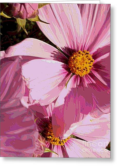 Floral Digital Art Greeting Cards - Layers of Pink Cosmos - Digital Art Greeting Card by Carol Groenen