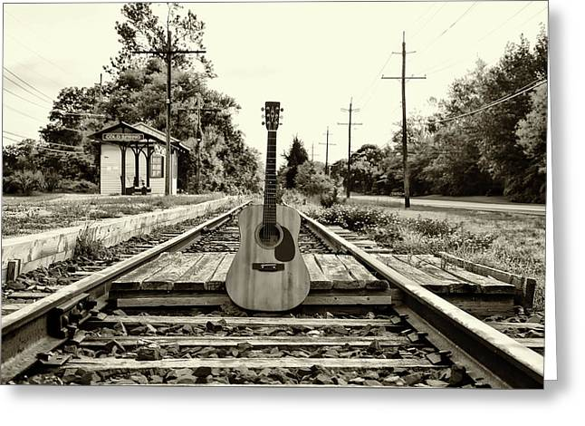 Laying Down Some Tracks In Black And White Greeting Card by Bill Cannon