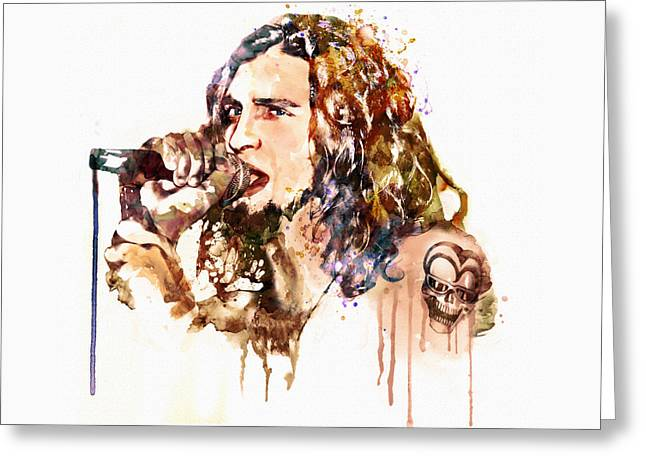 Staley Art Mixed Media Greeting Cards - Layne Staley singing in watercolor Greeting Card by Marian Voicu