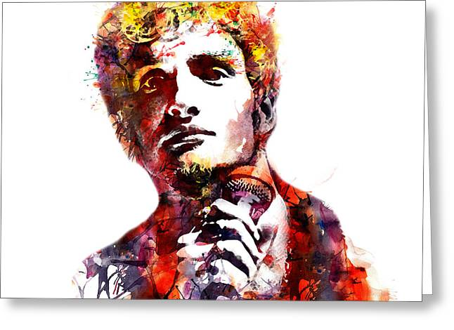 Staley Greeting Cards - Layne Staley watercolor Greeting Card by Marian Voicu