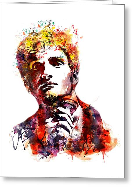 Layne Staley Watercolor Greeting Card by Marian Voicu
