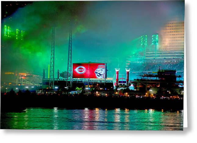 Allstar Greeting Cards - Laser Green Smoke and Reds stadium Greeting Card by Randall Branham