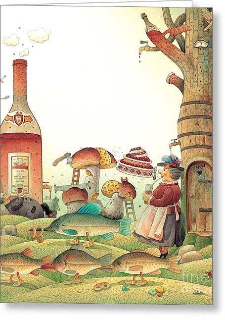 Kitchen Drawings Greeting Cards - Lazinessland03 Greeting Card by Kestutis Kasparavicius