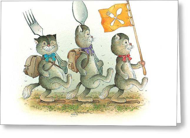 Kitchen Drawings Greeting Cards - Lazinessland05 Greeting Card by Kestutis Kasparavicius