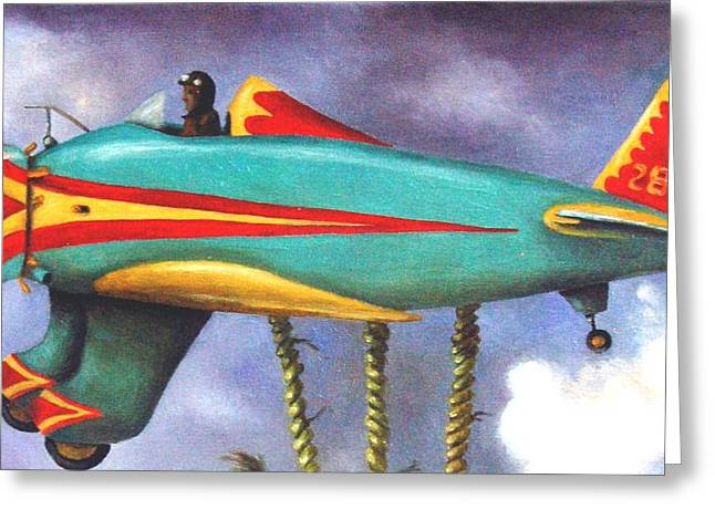 Lazy Bird Plane Detail Greeting Card by Leah Saulnier The Painting Maniac