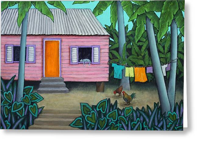 Tin Roof Paintings Greeting Cards - Lazy Day in the Caribbean Greeting Card by Lorraine Klotz
