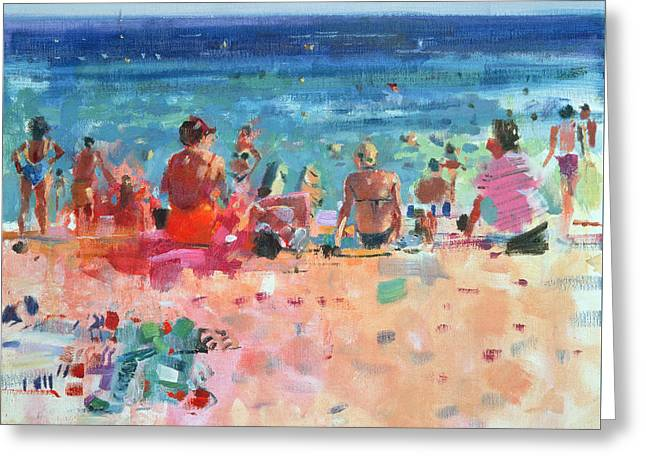 Beach Towel Greeting Cards - Lazy Sunny Afternoon Greeting Card by Peter Graham