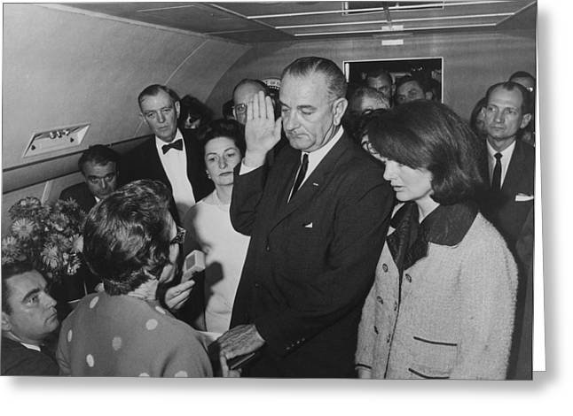 First-lady Photographs Greeting Cards - LBJ Taking The Oath On Air Force One Greeting Card by War Is Hell Store