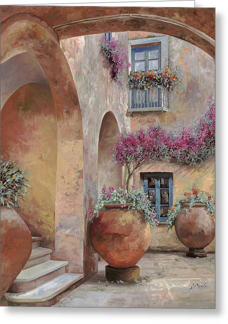 Le Arcate In Cortile Greeting Card by Guido Borelli