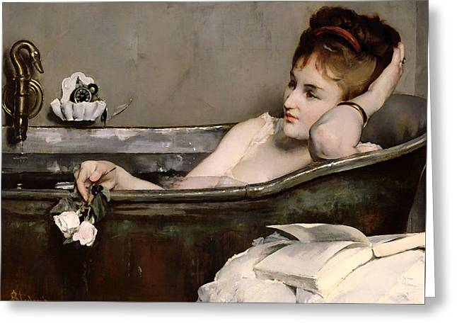 Deep In Thought Paintings Greeting Cards - Le Bain Greeting Card by Alfred Stevens