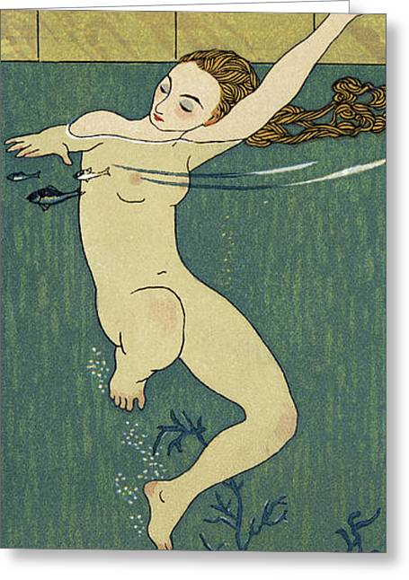 Le Bain Greeting Card by Georges Barbier