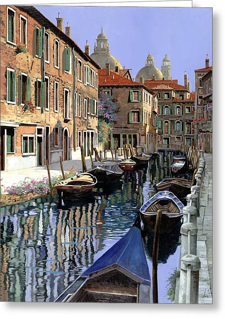 Venice Greeting Cards - Le Barche Sul Canale Greeting Card by Guido Borelli