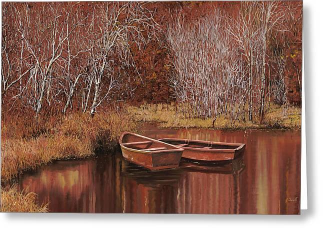 Straw Greeting Cards - Le Barche Sullo Stagno Greeting Card by Guido Borelli