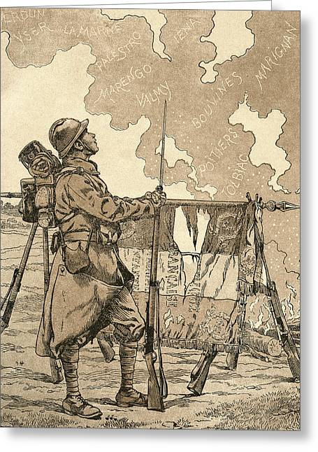 Veteran Drawings Greeting Cards - Le Bleuet. Symbol Of Memory Greeting Card by Vintage Design Pics