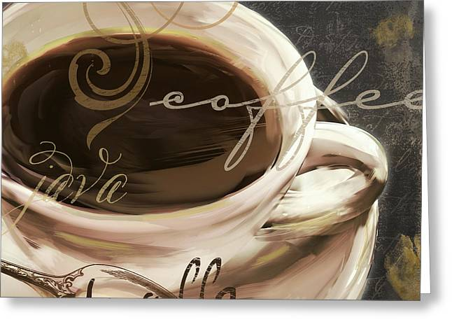 Kaffe Greeting Cards - Le Cafe Dark Greeting Card by Mindy Sommers