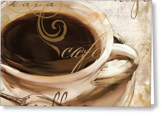 Coffee Drinking Paintings Greeting Cards - Le Cafe Light Greeting Card by Mindy Sommers