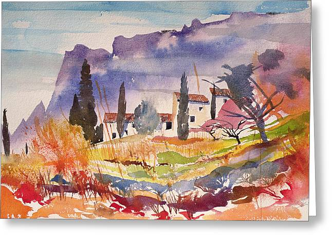 Warm Summer Paintings Greeting Cards - Le Caroux Greeting Card by Simon Fletcher