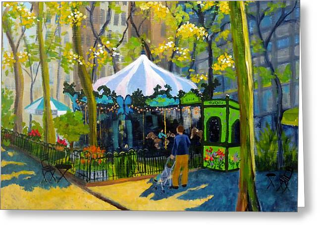 Bryant Paintings Greeting Cards - Le Carrousel in Bryant Park Greeting Card by Diane Arlitt