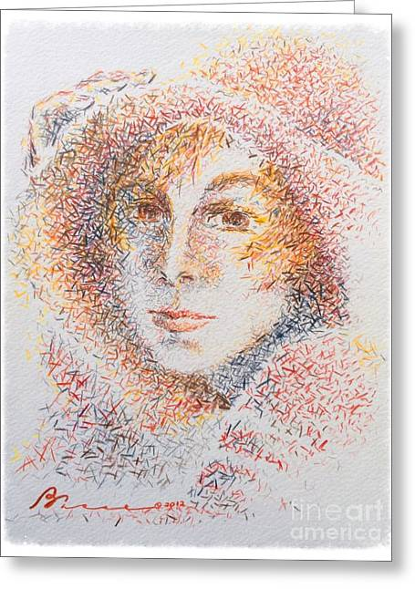 Contemplative Drawings Greeting Cards - Le Chapeaux  Greeting Card by Barbara Chase