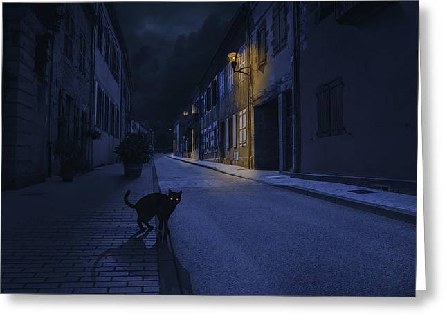 Composite Greeting Cards - Le Chat Noir Greeting Card by Omar Brunt