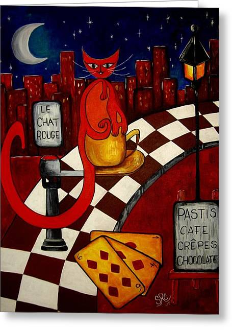 Pastis Greeting Cards - Le Chat Rouge  Greeting Card by Silvia Regueira