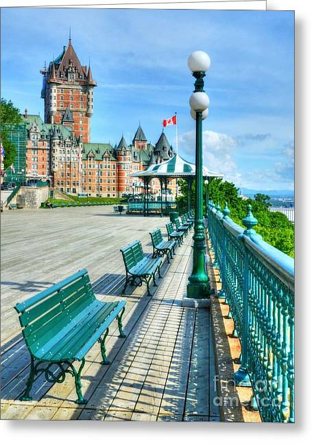 Quebec Province Greeting Cards - Le Chateau Frontenac 2 Greeting Card by Mel Steinhauer
