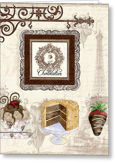 Chocolate Cake Greeting Cards - Le Chcolatier - Paris Eiffel Tower Chocolate Perfection Greeting Card by Audrey Jeanne Roberts