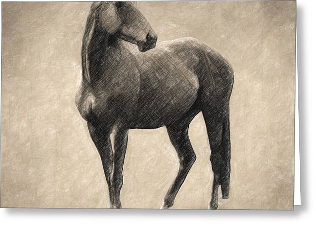 Kitchen Wall Drawings Greeting Cards - Le Cheval Greeting Card by Taylan Soyturk