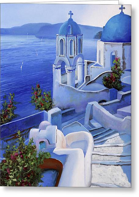 Le Chiese Blu Greeting Card by Guido Borelli
