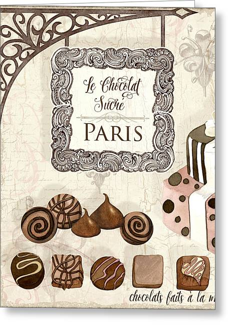 Hand Made Greeting Cards - Le Chocolat Sucre Paris - Sweet Chocolate Paris Greeting Card by Audrey Jeanne Roberts