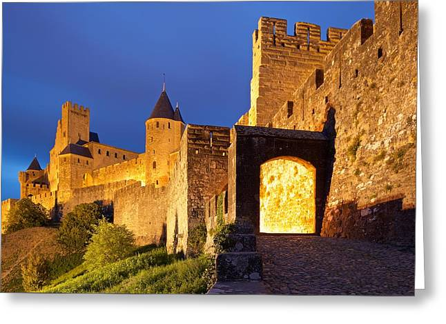 Languedoc Digital Greeting Cards - Le Cite at night Greeting Card by Stephen Taylor