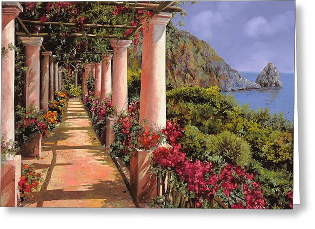 Landscape. Scenic Paintings Greeting Cards - Le Colonne E La Buganville Greeting Card by Guido Borelli