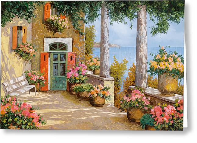 Terrace Greeting Cards - Le Colonne Sulla Terrazza Greeting Card by Guido Borelli