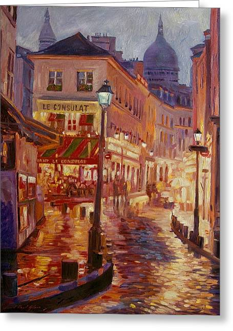 Night Cafe Greeting Cards - Le Consulate Montmartre Greeting Card by David Lloyd Glover