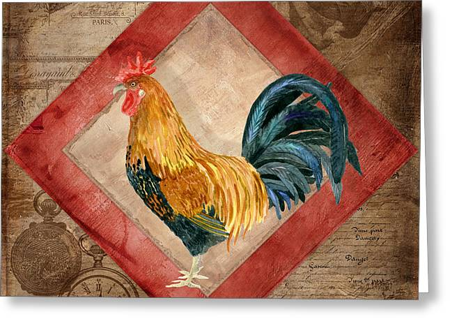 Le Coq - At The Rising Sun Greeting Card by Audrey Jeanne Roberts