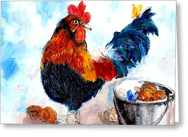 Seau Greeting Cards - Le Coq et le Seau Greeting Card by Chris Irwin Walker