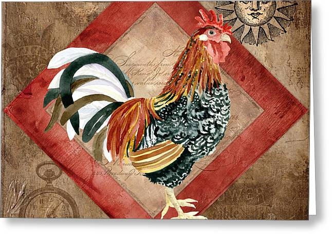Le Coq Greeting Cards - Le Coq - Greet the Day Greeting Card by Audrey Jeanne Roberts