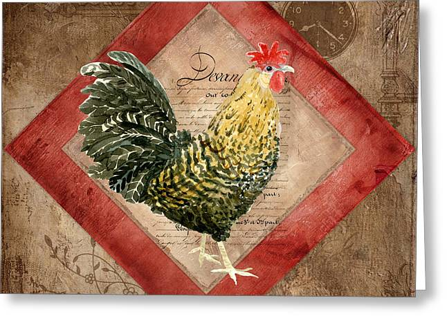 Coq Greeting Cards - Le Coq - Morning Call Greeting Card by Audrey Jeanne Roberts
