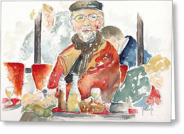 Le Dejeuner Cafe Du Marche Rue Cler Paris Greeting Card by Pat Katz