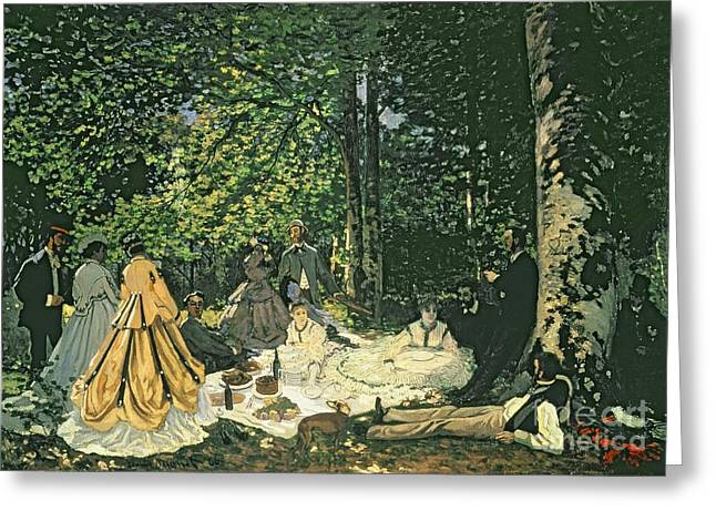 1866 Greeting Cards - Le Dejeuner sur lHerbe Greeting Card by Claude Monet