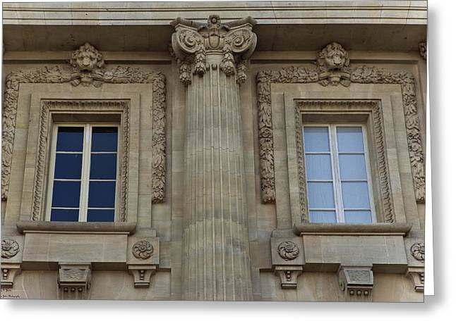 Historic Site Greeting Cards - Le Grand Palais - Window And Pillar Detail  Greeting Card by Hany Jadaa  Prince John Photography